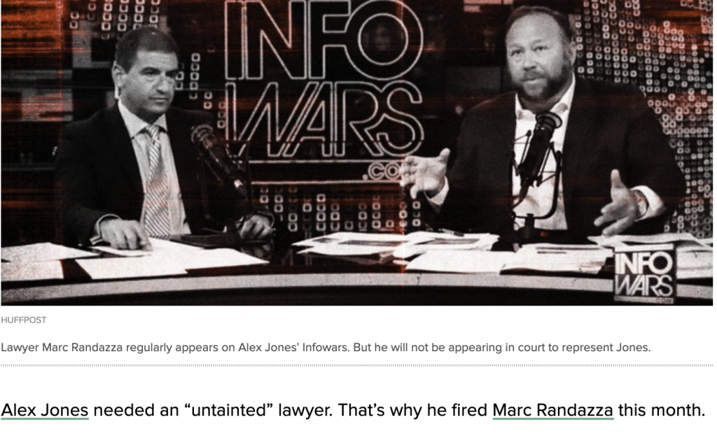 Alex Jones needed an untainted Lawyer. That's why he fired Marc Randazza this month.