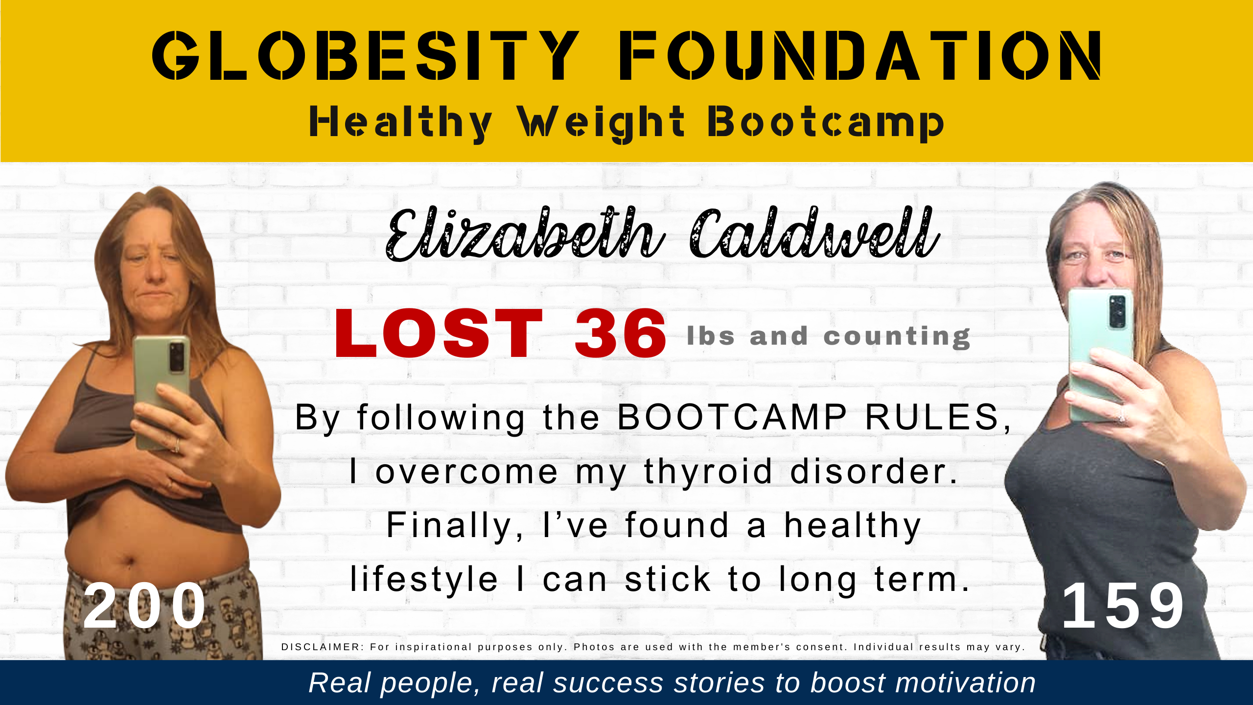 LIZ CALDWELL OVERCAME HER THYROID DISORDER AND LOST WEIGHT WITH THE GLOBESITY FOUNDATION HEALTHY WEIGHT BOOTCAMP